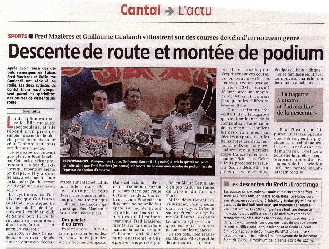 Article de la Montagne du 29/07/09